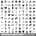 100 human health icons set, simple style