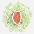 Human heart concept about healthy lifestyle and longevity with sketched elements