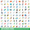 100 human icons set, isometric 3d style