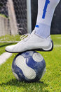 Human leg and soccer ball Royalty Free Stock Images