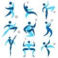 Human logo sport icons set