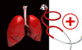 Human lungs,stethoscope and clinical symbol Royalty Free Stock Image