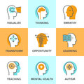 Human mental process line icons set with flat design elements of mind people brain thinking health and autism problem Royalty Free Stock Photos