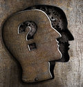 Human metal brain model with question mark open on lid Stock Photo