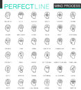 Thin line icons set of human mind, thinking process, learning.  Line logo