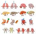 Human organs healthy and unhealthy characters vector set.