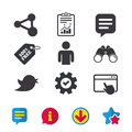 Human person and share icons. Speech bubble. Royalty Free Stock Photo