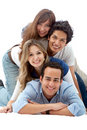 Human pyramid smiling Royalty Free Stock Image