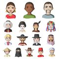 The human race cartoon icons in set collection for design. People and nationality vector symbol stock web illustration.