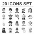 The human race monochrome icons in set collection for design. People and nationality vector symbol stock web