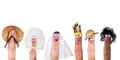 Human races finger puppets and diversity symbolized with isolated Stock Photo