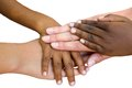 Human races joined together macro close up of multiracial child hands isolated on white background Stock Images