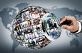 Human resource concept magnifying glass searching people Royalty Free Stock Photo