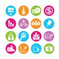 Human resource icons set of in colorful buttons Stock Images