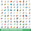 100 human resource icons set, isometric 3d style