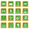 Human resource management icons set green