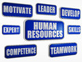 Human resources blue business concept text in d banners with words Royalty Free Stock Photos