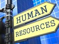 Human resources business concept words on yellow roadsign on blue urban background d render Stock Images