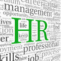 Human resources concept in tag cloud hr on white background Stock Image
