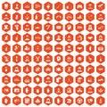 100 human resources icons hexagon orange