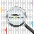 Human resources magnifying glass over many people resource concept Royalty Free Stock Image