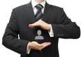 Human resources managment concept with businessman protecting employee Stock Photo