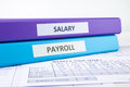 Human resources and payroll documents salary word on binder place on weekly time sheet concept Royalty Free Stock Photos