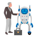Human and Robot Cooperation Isolated Illustration