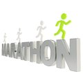 Human running symbolic figures over the word marathon run illustration group of chrome metal isolated on white background Royalty Free Stock Image