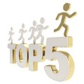 Human running symbolic figures over the words top five leaders illustration group of golden chrome metal composition isolated on Stock Photos