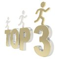 Human running symbolic figures over the words Top Three Stock Images