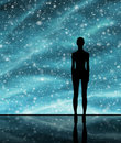 Human shape over the stellar background Royalty Free Stock Photo