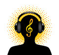 Human silhouette with headphones in a treble clef on the halfton background Royalty Free Stock Image