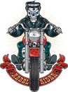 Human skeleton riding motorcycle Royalty Free Stock Photo