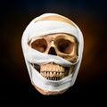 Human skull with bandage