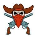 Human skull in cowboy hat crossed revolvers