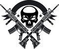 Human skull with crossed assault rifles and banner Royalty Free Stock Photo