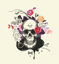 Human skull drawn in etching style with smoking pipe in mouth against bouquet of half-colored roses, crossed bones and