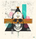 Human skull drawn in woodcut retro style and triangles, rectangles circles of different colors textures on background