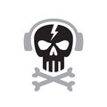 Human skull with headphones sign - vector logo template concept illustration. Design element Royalty Free Stock Photo