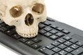 Human skull model with keyboard Royalty Free Stock Photo