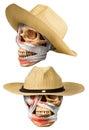 Human skull put on basketwork hat