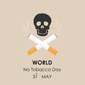 Human skull and Quit Tobacco sign.May 31st World no tobacco day.