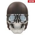 Human skull with retro aviator or biker helmet Royalty Free Stock Photo