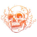 Human skull in smoke smell