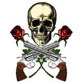 A human skull with two guns and two red roses Royalty Free Stock Photo