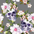 Human skulls, flowers in grunge style. Seamless pattern. Watercolor Royalty Free Stock Photo