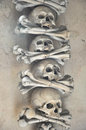 Human skulls in Sedlec Ossuary (Czech: Kostnice v Sedlci) Royalty Free Stock Photo