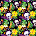 Human skulls, tropical leaves, exotic flowers. Repeating pattern at black background. Watercolor Royalty Free Stock Photo