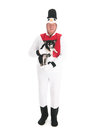 Human snowman with dog little chihuahua isolated over white background Royalty Free Stock Photos